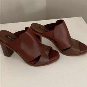 White House Black Market brown slide heels